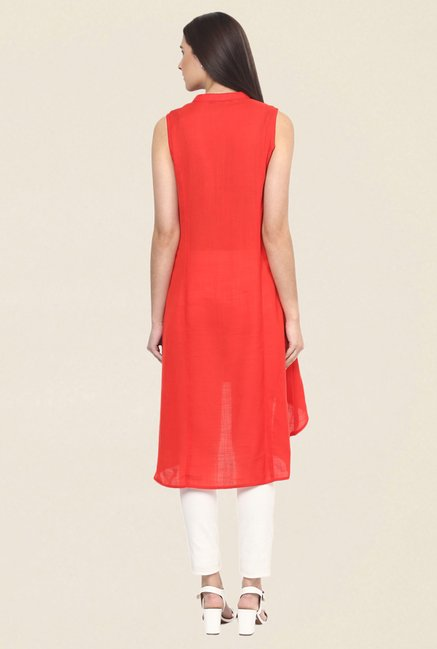 Fusion Beats Orange Embroidered Kurti