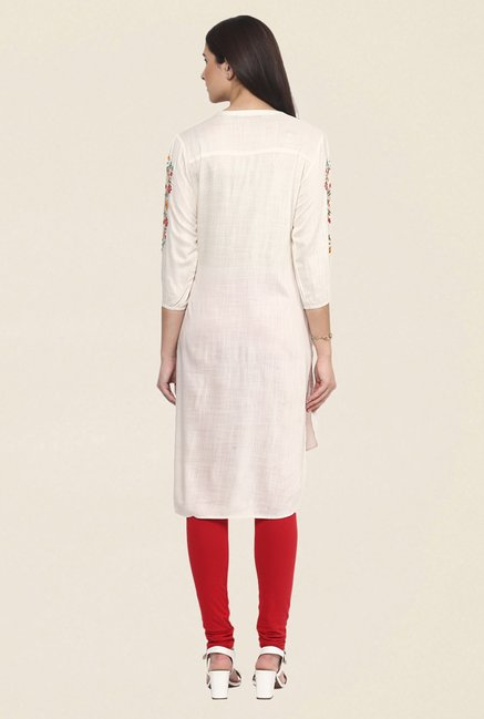 Fusion Beats Cream Embroidered Kurti