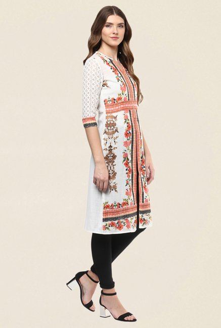 Fusion Beats White & Orange Floral Print Kurti