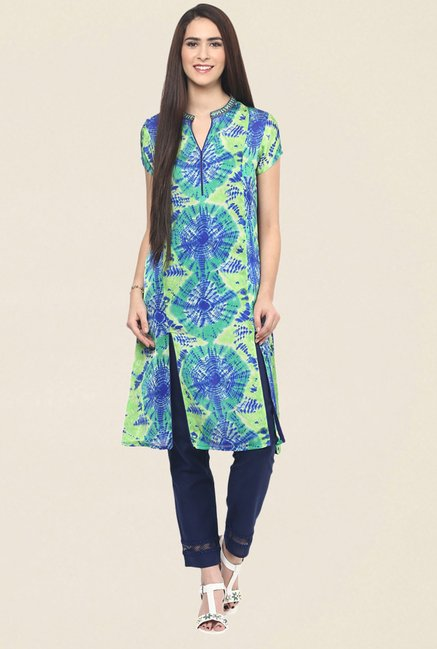Fusion Beats Green Printed Kurta