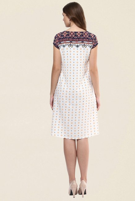 Fusion Beats Cream Printed Kurti