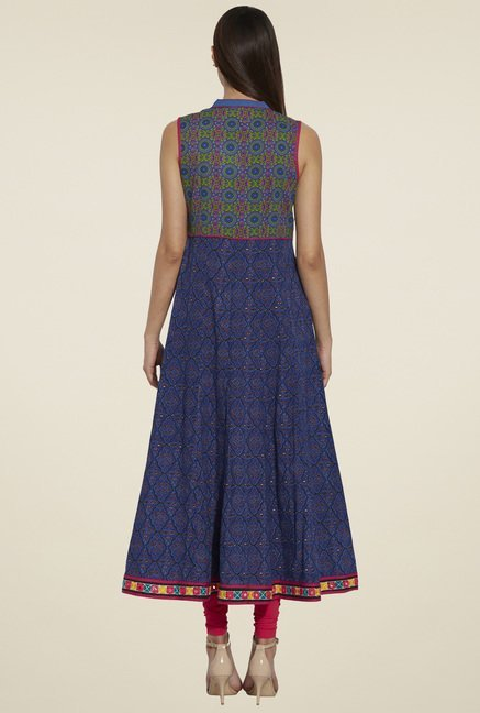 Globus Navy Sleeveless Anarkali Kurta