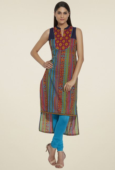 Globus Multicolor Sleeveless Printed Kurta