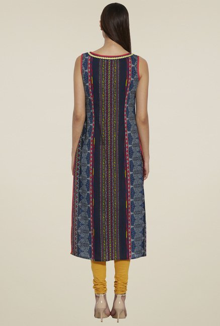 Globus Blue Sleeveless Cotton Kurta