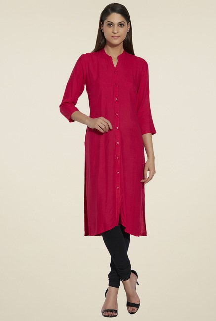 Globus Dark Pink Regular Fit Kurta