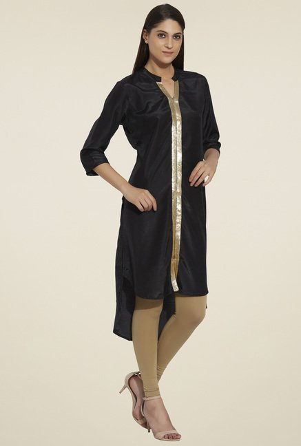 Globus Black Regular Fit Kurta