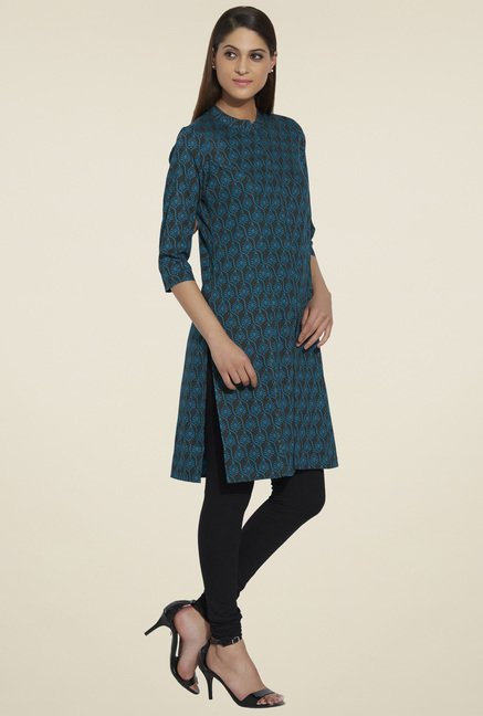 Globus Black & Blue Printed Regular Fit Kurta