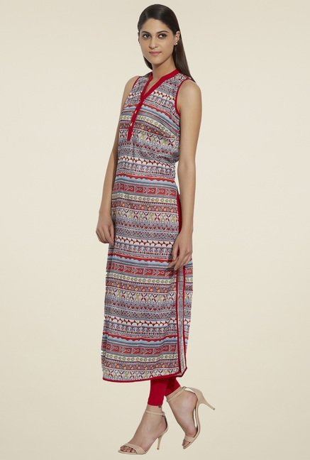 Globus Grey & Red Sleeveless Kurta