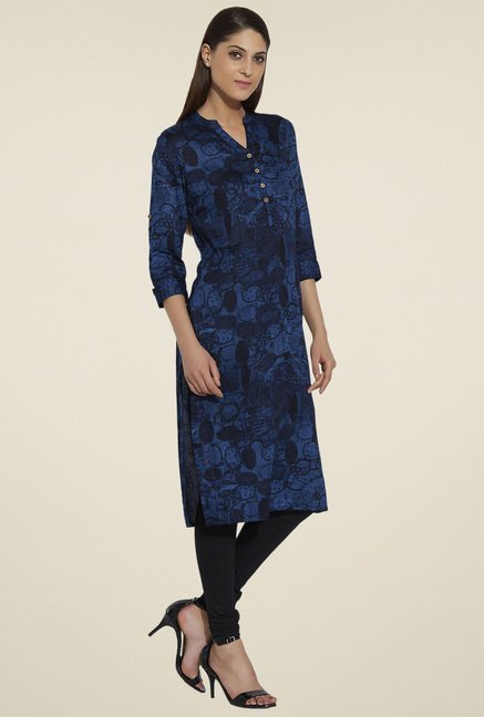 Globus Dark Blue Printed Kurta