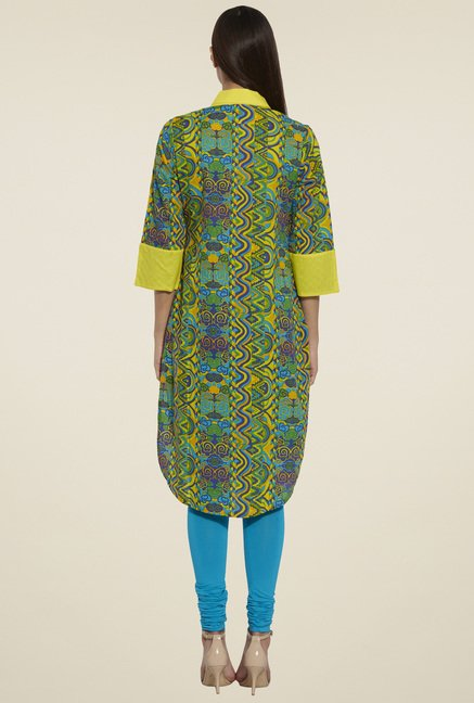 Globus Green 3/4th Sleeves Kurta