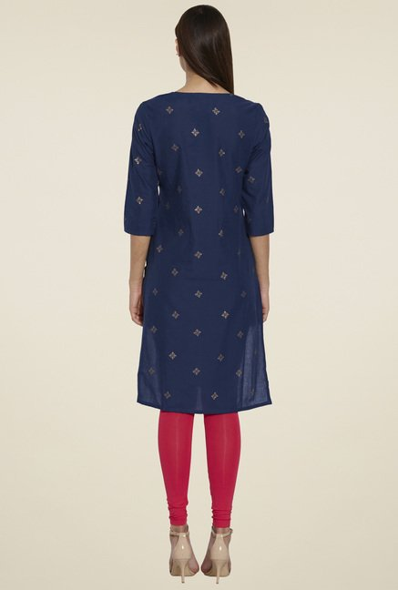 Globus Navy Printed Regular Fit Kurta