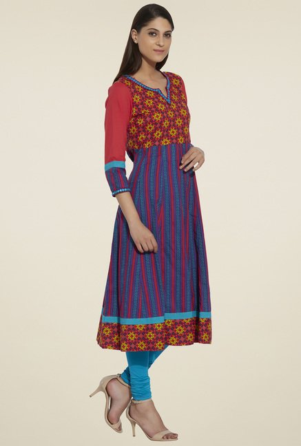 Globus Red & Purple 3/4th Sleeves Anarkali Kurta