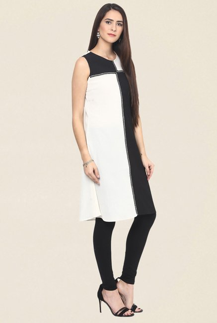 Fusion Beats Black & White Printed Kurti