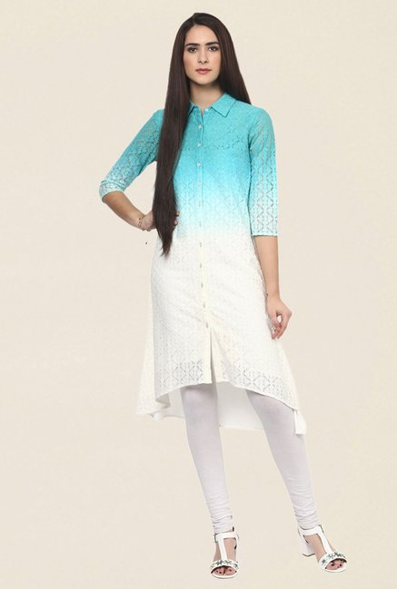 Fusion Beats Blue & White Lace Kurta