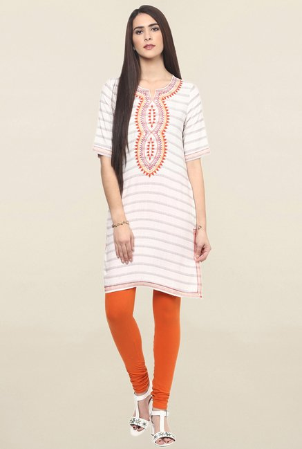 Fusion Beats Off White Embroidered Kurti