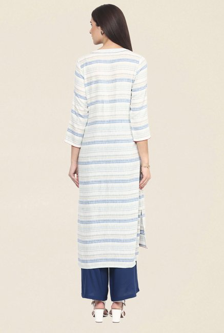 Fusion Beats Blue & White Striped Kurta