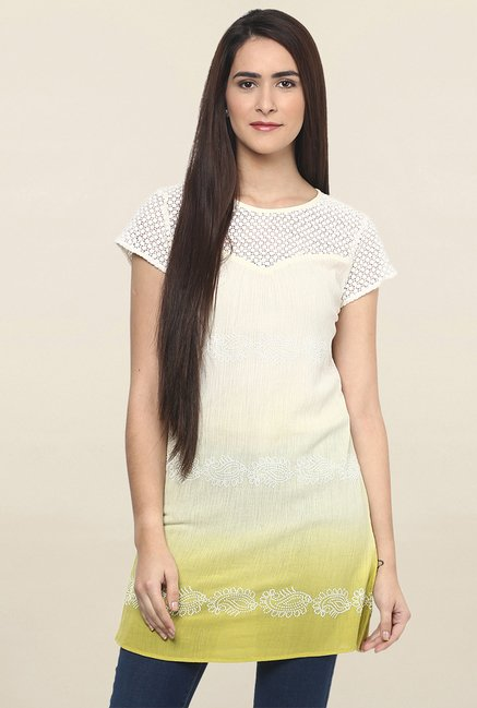 da79c0dde53 Buy Fusion Beats Cream Lace Tunic for Women Online @ Tata CLiQ