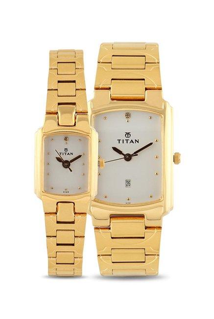 Titan NH19552955YM01 Bandhan Analog White Dial Couple Watch (NH19552955YM01)