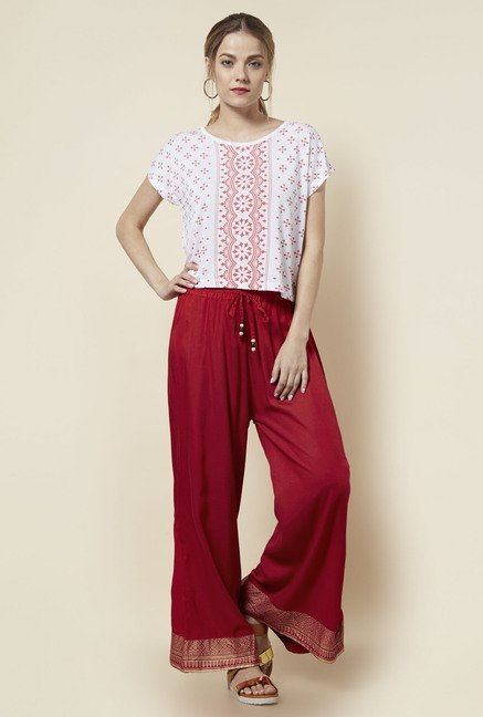Zudio Red Printed Palazzos