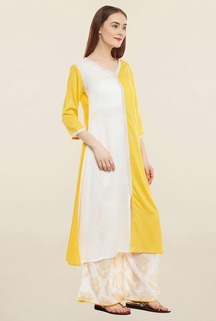 9rasa Yellow Solid Kurta