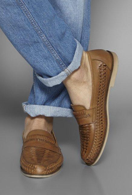b3d0cd2c43c Buy David Jones by Westside Tan Huarache Loafers For Men Online At ...