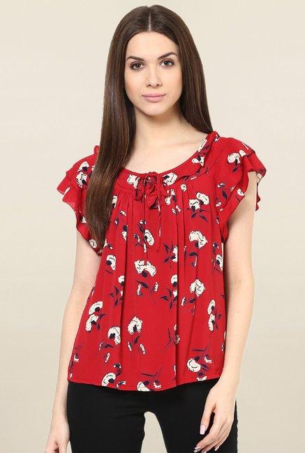 Miway Red Floral Print Top