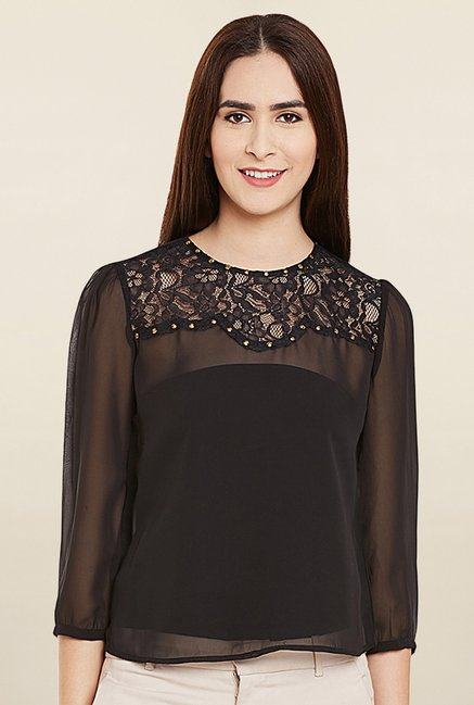 Miway Black Lace Top