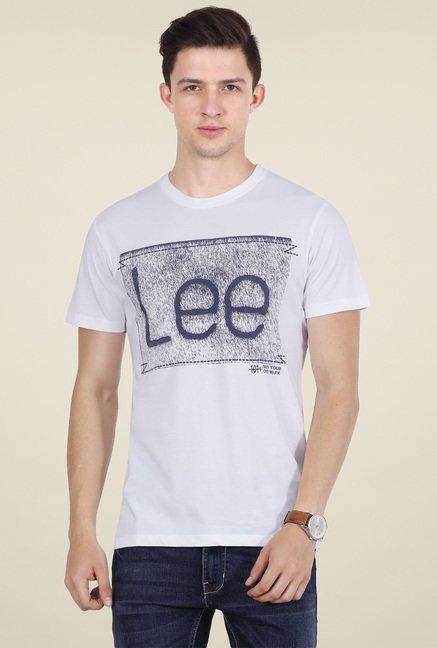c5b487e2 Buy Lee Off-white Round Neck T-shirt for Men Online @ Tata CLiQ