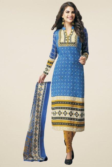 Salwar Studio Blue & Mustard Printed Dress Material