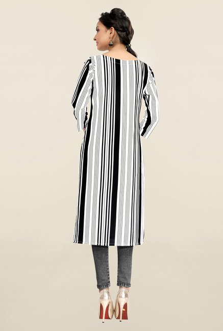 Ziyaa White & Black Striped Crepe Kurta