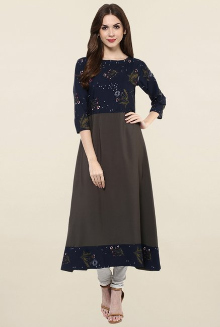 Ziyaa Brown Printed Crepe Anarkali Kurta