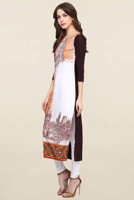 Ziyaa White & Orange Printed Crepe Kurta
