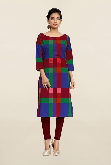 Ziyaa Multicolor Checks Crepe Kurta