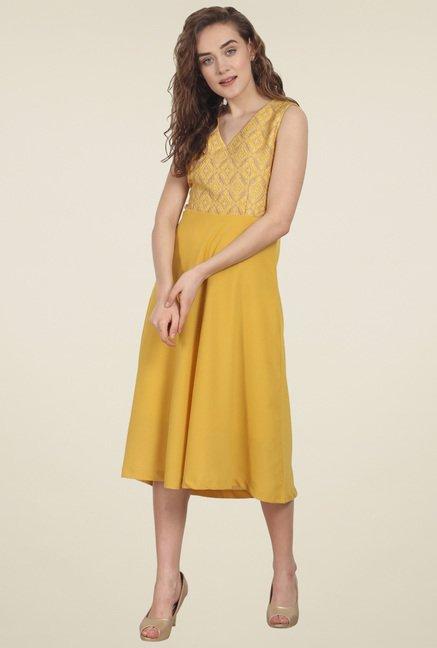 Soie Yellow Sleeveless Midi Dress