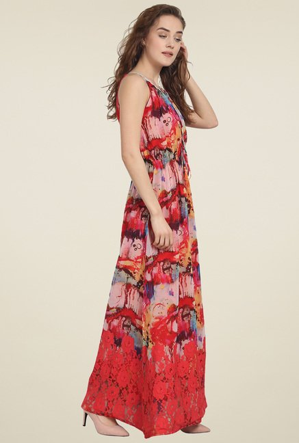 Soie Multicolor Sleeveless Printed Maxi Dress