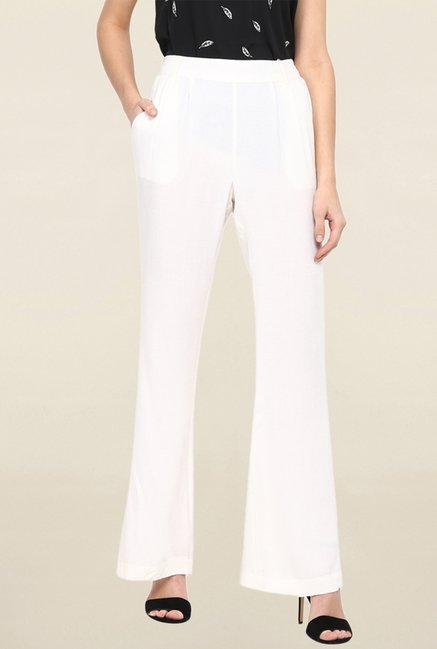 Miway White Solid Pant