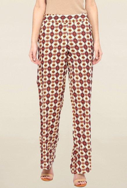Miway Maroon & Beige Printed Pant