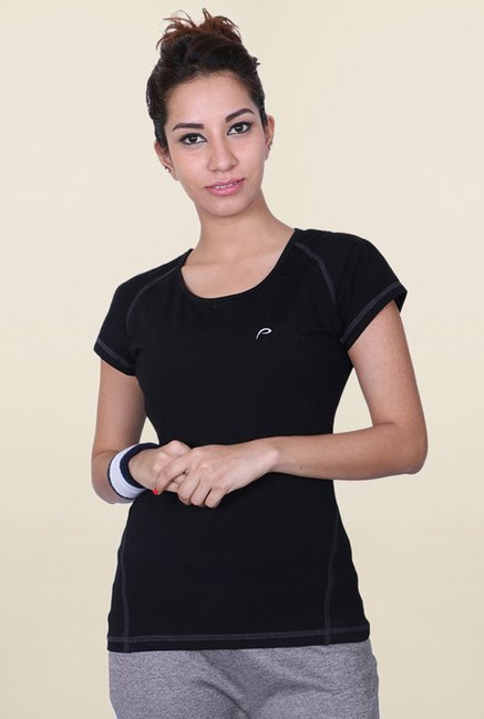 Proline Black Solid T Shirt