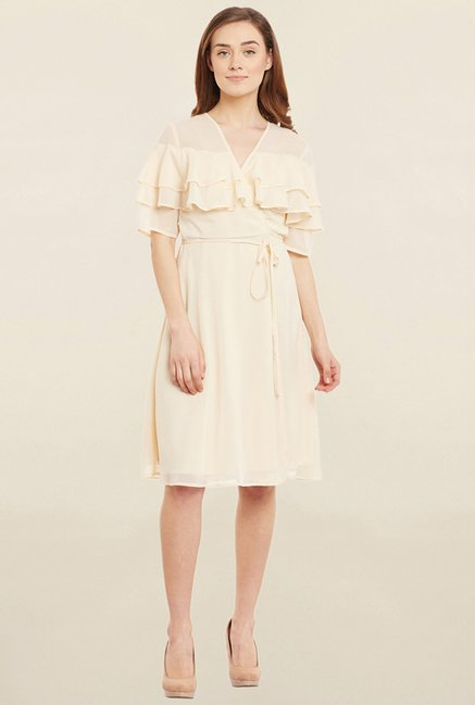 Femella Ecru Solid Dress