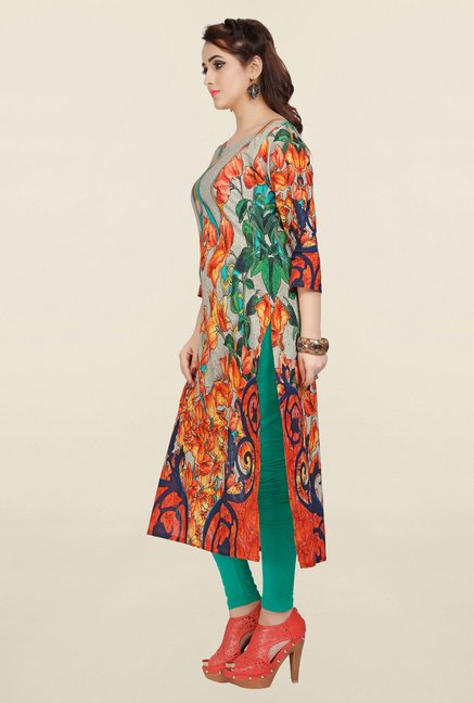 Ziyaa Multicolor Printed Cotton Kurta