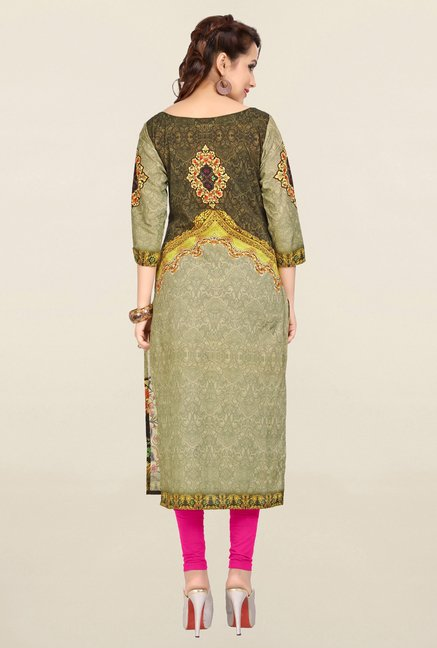 Ziyaa Olive Printed Cotton Kurta