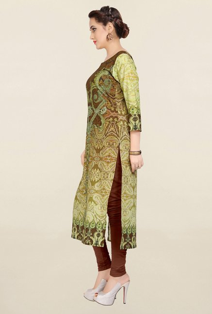 Ziyaa Green & Brown Printed Cotton Kurta