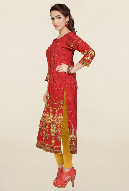 Ziyaa Red Printed Cotton Kurta
