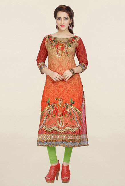 Ziyaa Orange & Beige Printed Cotton Kurta