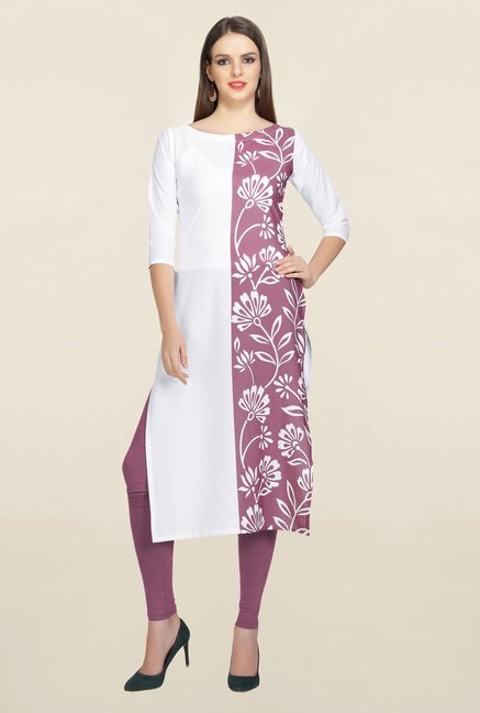 Ziyaa White & Pink Floral Print Crepe Kurta