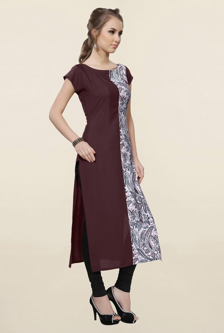 Ziyaa Brown & Off White Printed Crepe Kurta