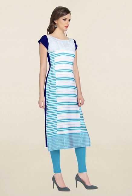 Ziyaa White & Blue Striped Crepe Kurta