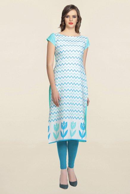 Ziyaa White & Blue Printed Crepe Kurta