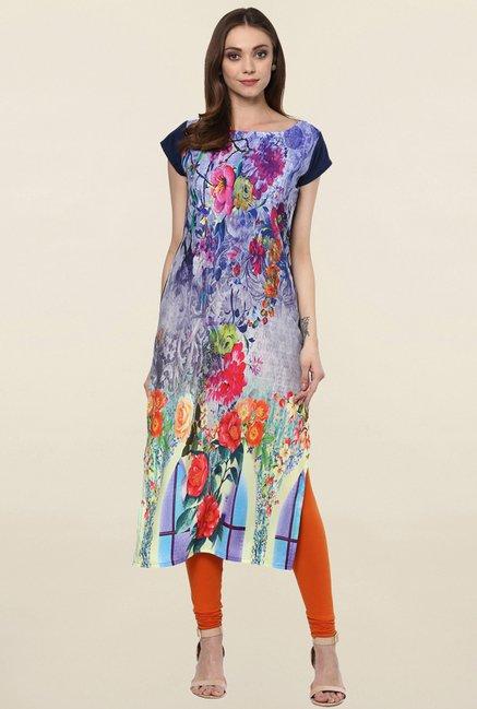 Ziyaa Multicolor Floral Print Crepe Kurta