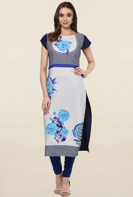 Ziyaa Off White Floral Print Crepe Kurta